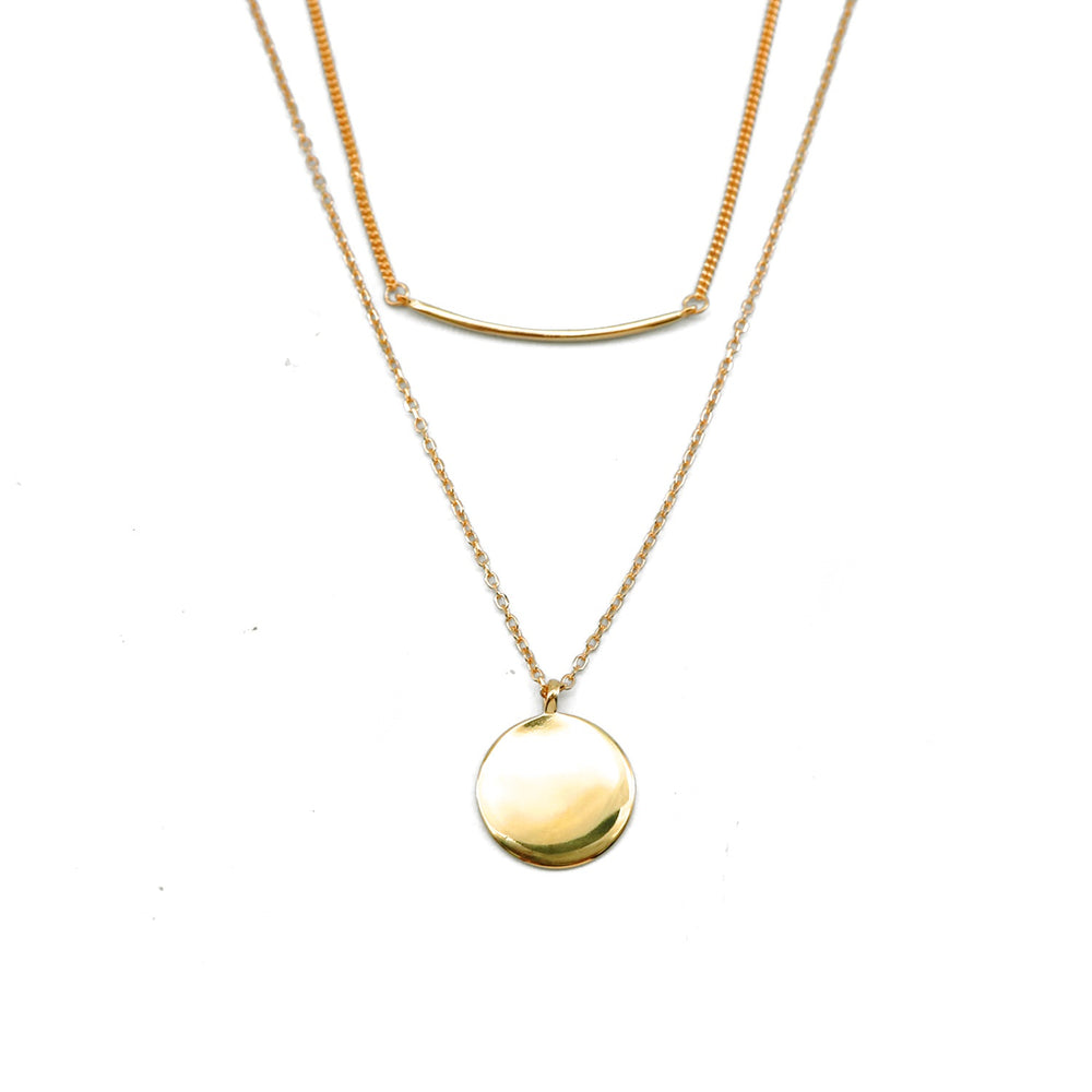 Hardia Gold Plated Round and Curved Layered Necklace