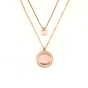 Harbin Rosegold Plated Layered Necklace with Round Pendant