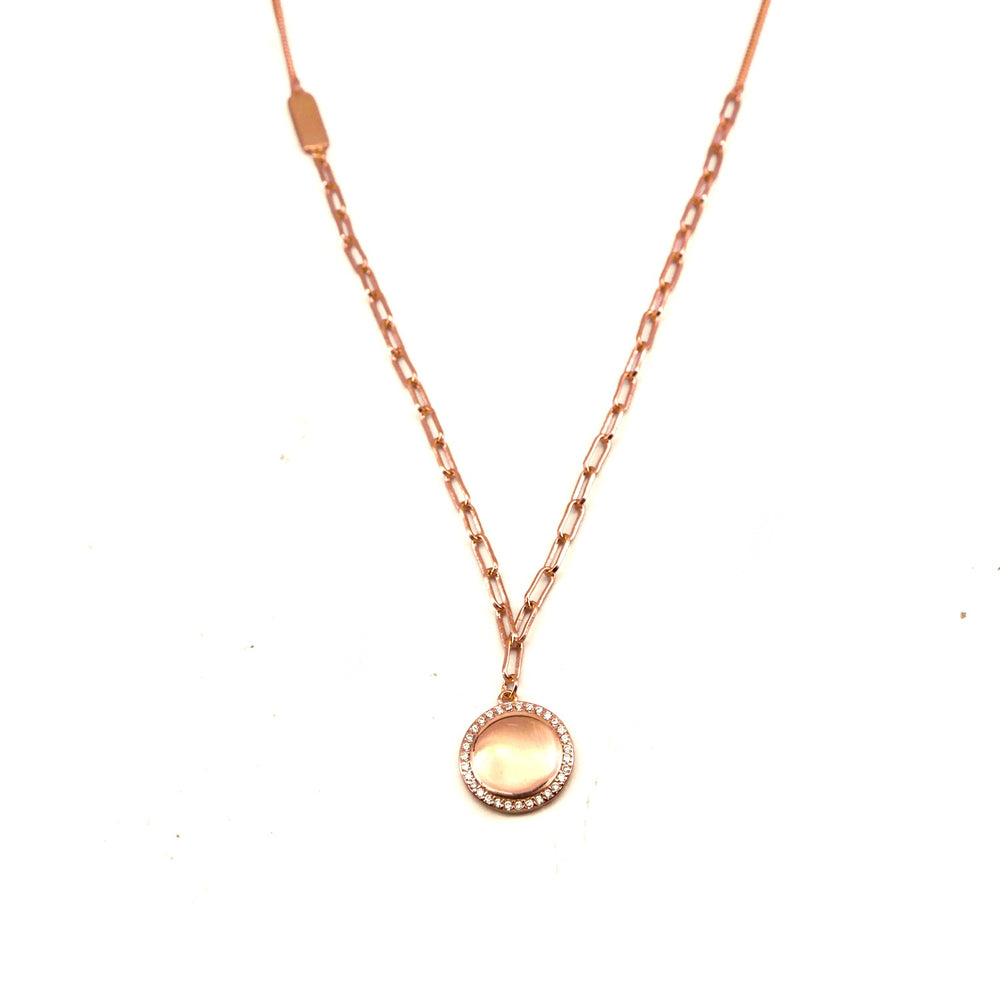 Heshan Rosegold Plated Round Pendant in Linked Curb and Elongated Link Necklace