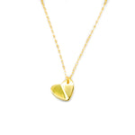 Hakusan Gold Plated Rolo Folded Heart in Rolo Chain Necklace