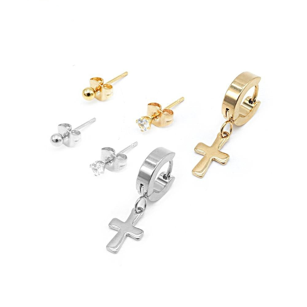 Set of Polished Round, 4-Prong CZ Stud and Hoop with Drop Cross Earrings
