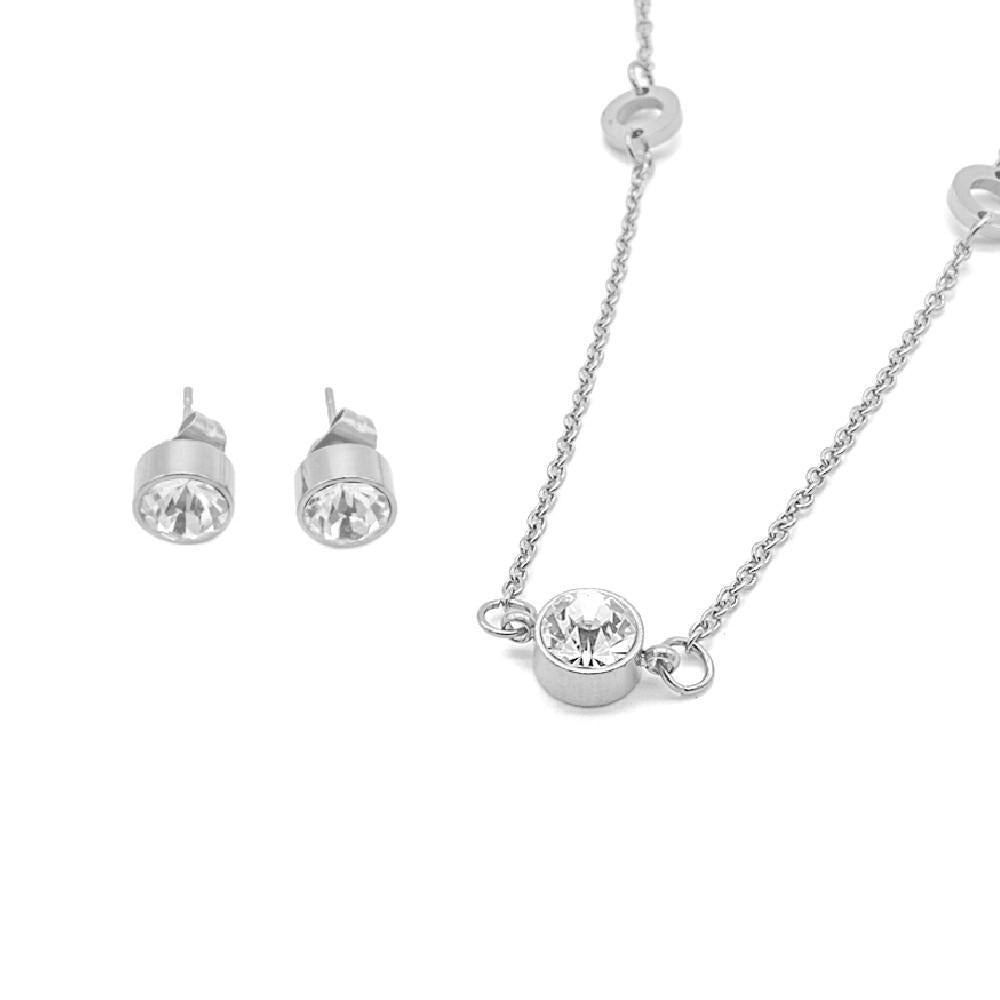 Shan Set with Round Design Necklace and Earrings