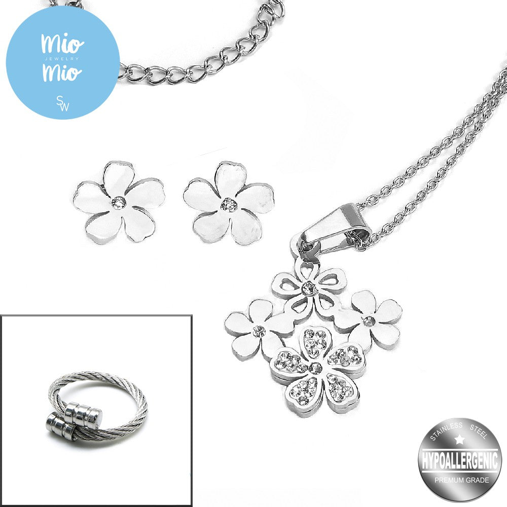 Silverworks X3163/X3979 Flower Earrings and Necklace Set with Twisted Cable Ring