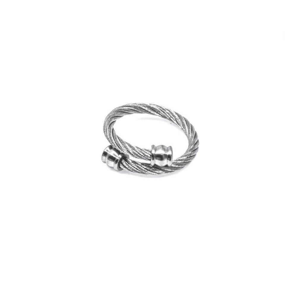 Twisted Cable Ring with Balls on End