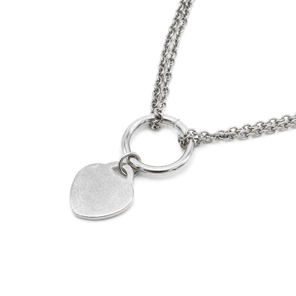 2 Layered Chain with Flat Heart Pendant Necklace