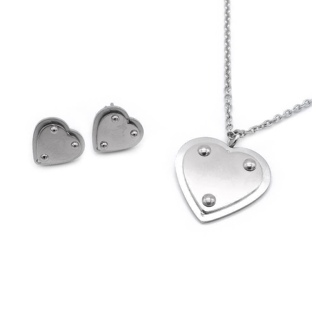 Polished Heart Earrings and Necklace Set