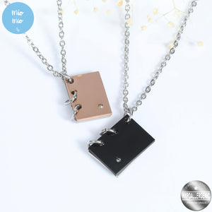 Book Pendant Couple Necklace