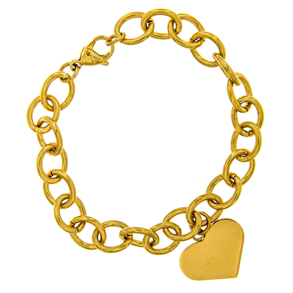Engravable Heart Charm in Thick Rolo Bracelet
