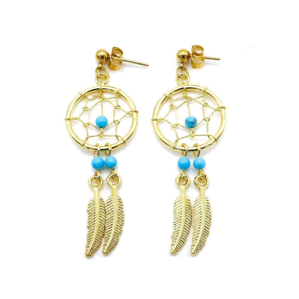 Gold Plated Dreamcatcher with Feather Drop Earrings