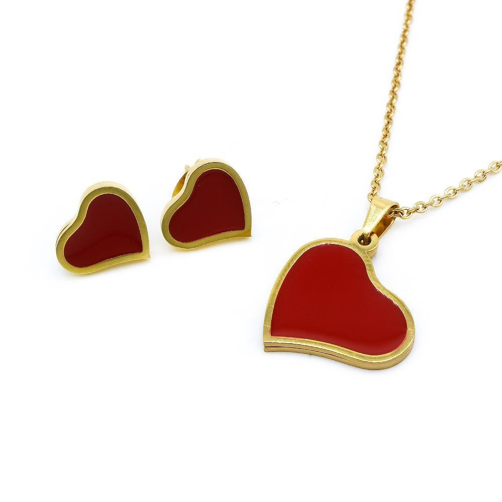 Load image into Gallery viewer, Red Enamel in Slanted Heart Necklace and Earrings Set