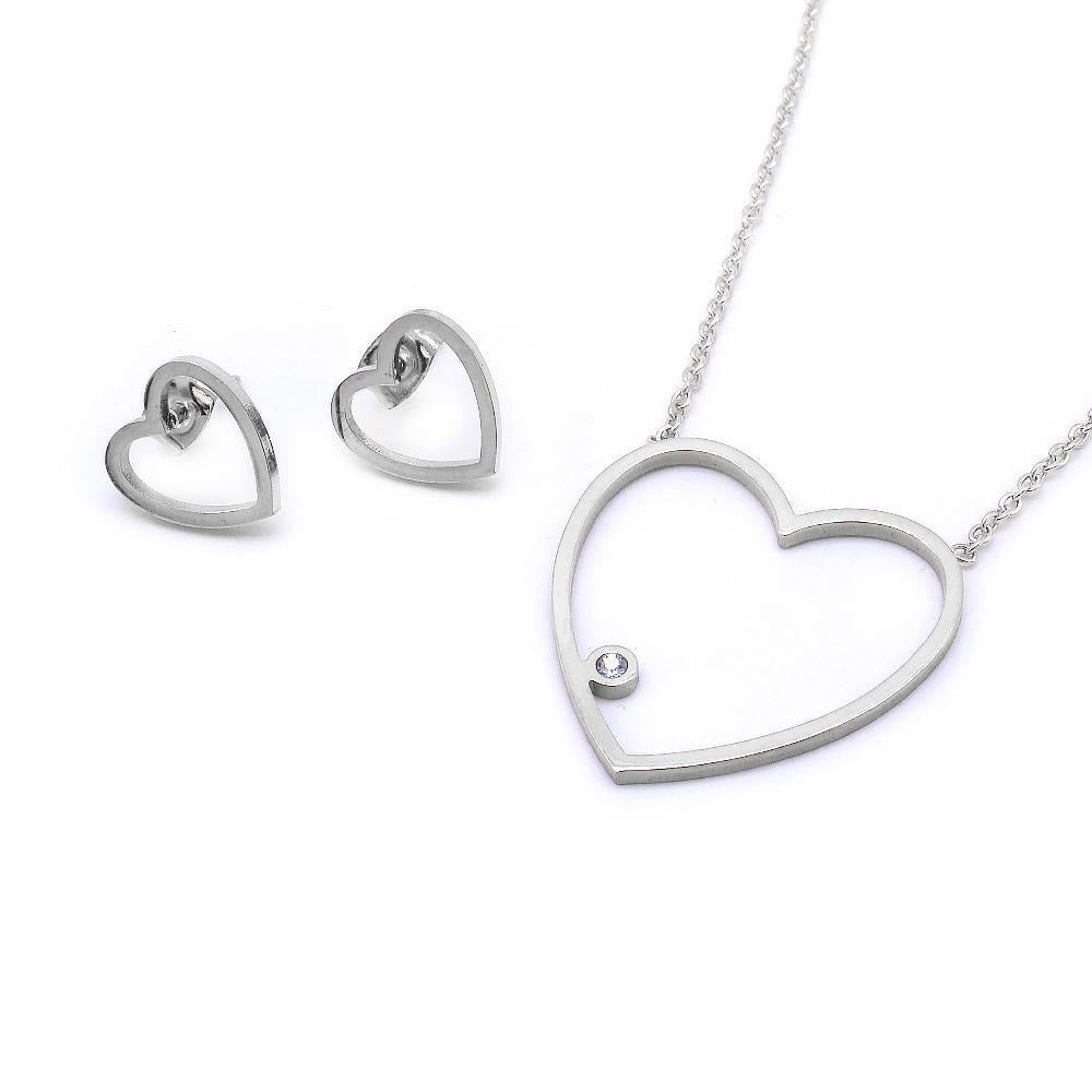 Thin Open Heart Earrings and Necklace Set