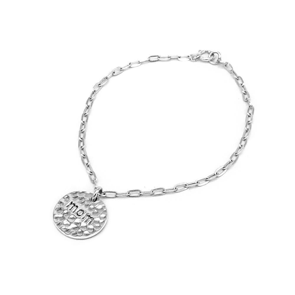 Engraved Mom in Round Plate Pendant in Cheval Chain Bracelet