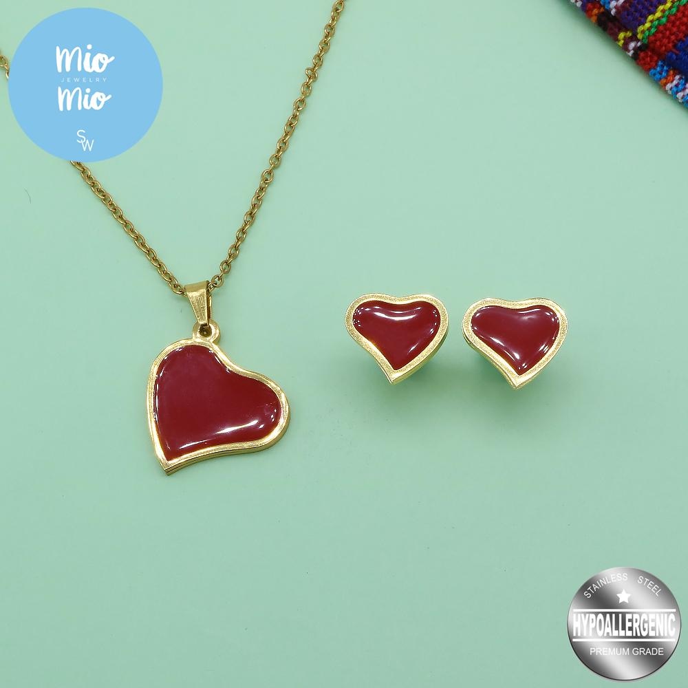 Red Enamel in Slanted Heart Necklace and Earrings Set
