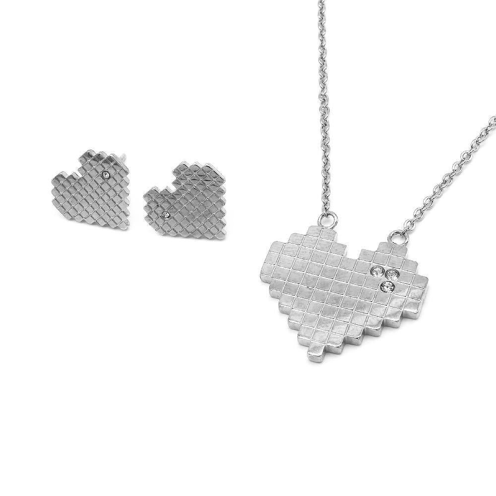 Heart-Shaped Bricks Design Earrings and Necklace Set
