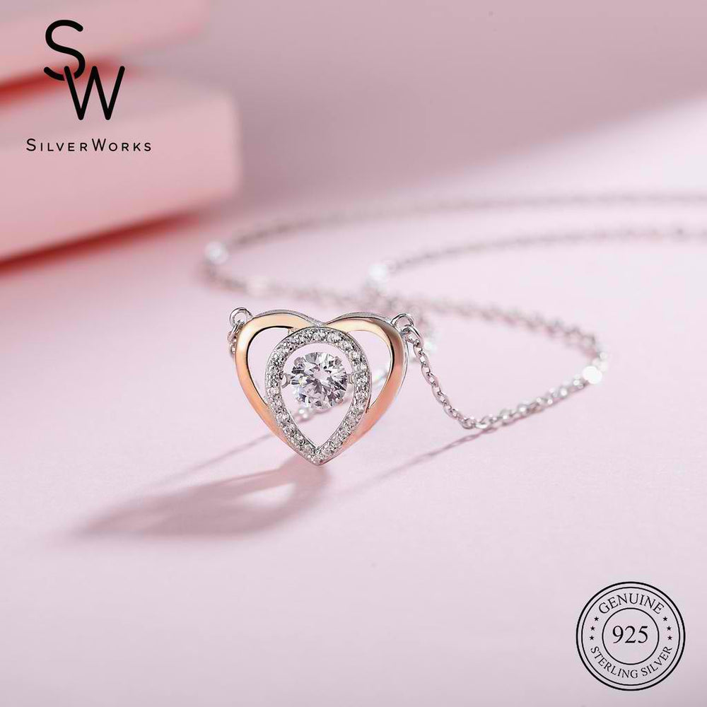 Hillary Silver Dancing Gem Heart Necklace in 18k Rose Gold 2