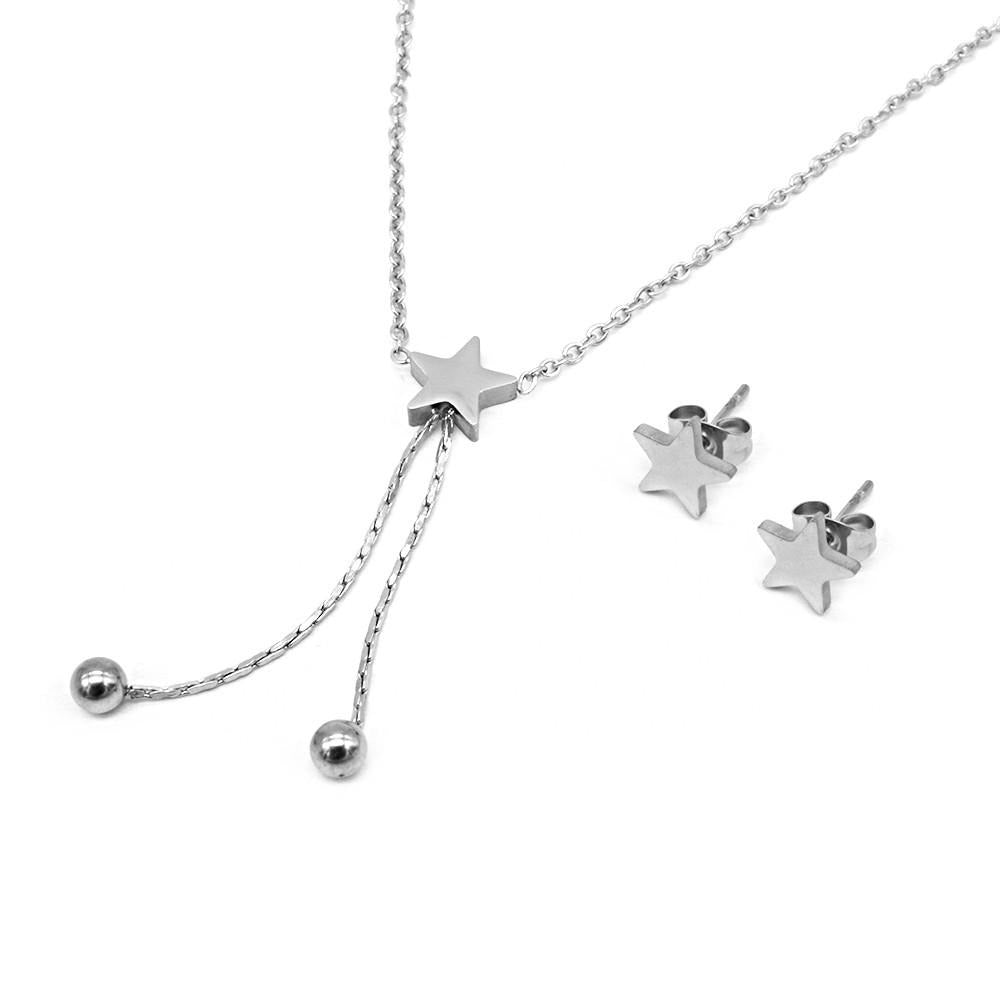 Star with Ball Drop Earrings and Necklace Set