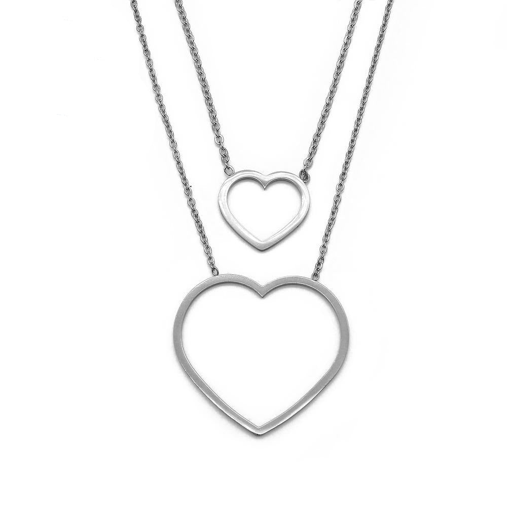 Sab Layered Thin Open Heart Necklace