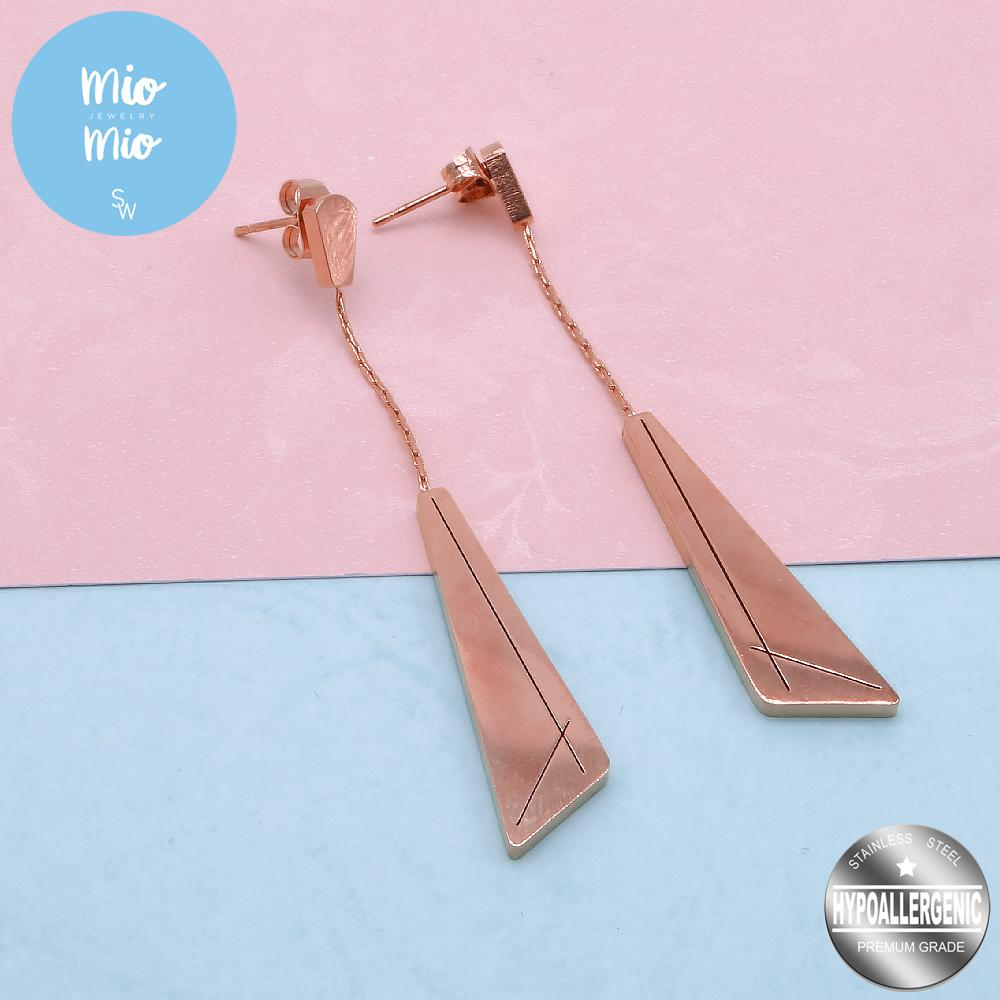 Mio Mio by Silverworks Drop Bar Angle Design Earrings