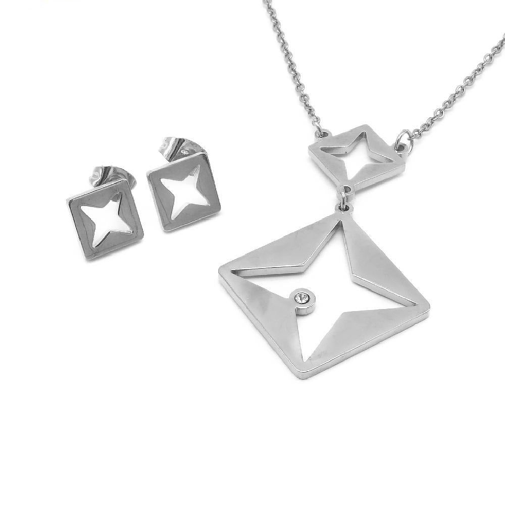 Square with Cut-Out Diamond Earrings and Necklace Set