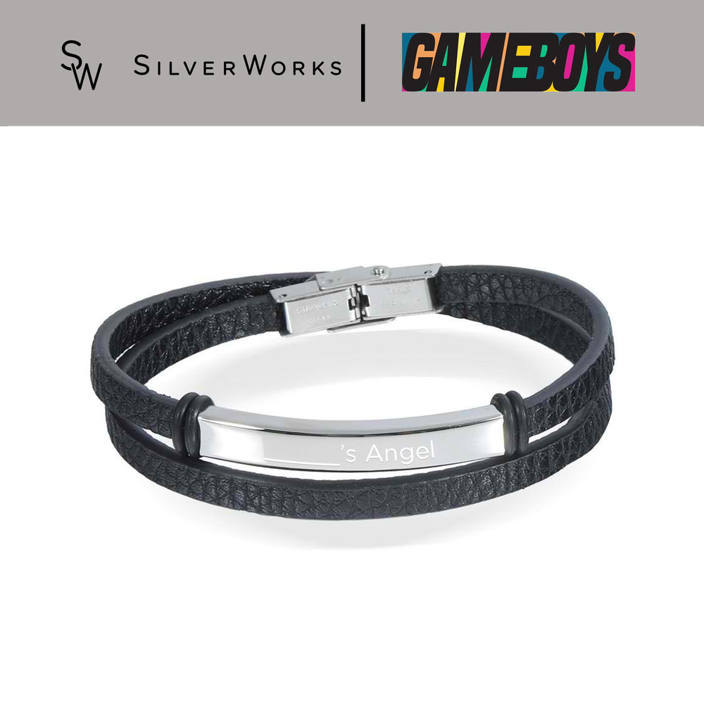 "Load image into Gallery viewer, Gameboys Collection Black Engravable Endearment Bracelet "" ____'s Angel"""