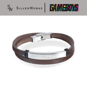 "Gameboys Collection Brown Engravable Endearment Bracelet ""____'s Angel"""