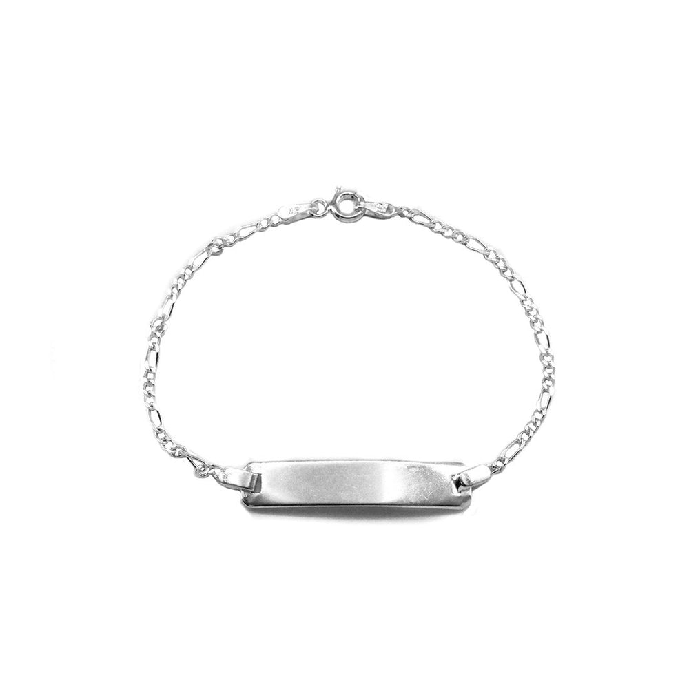 Cyrillia ID Bar Silver Bracelet with Figarro Chain