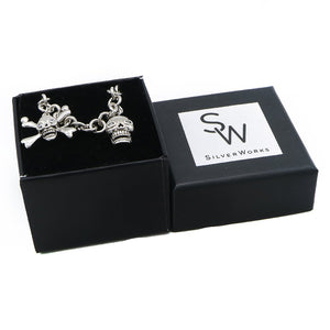 Caley Skull Charms Silver Bracelet with Rolo Chain and Cubic Zirconia