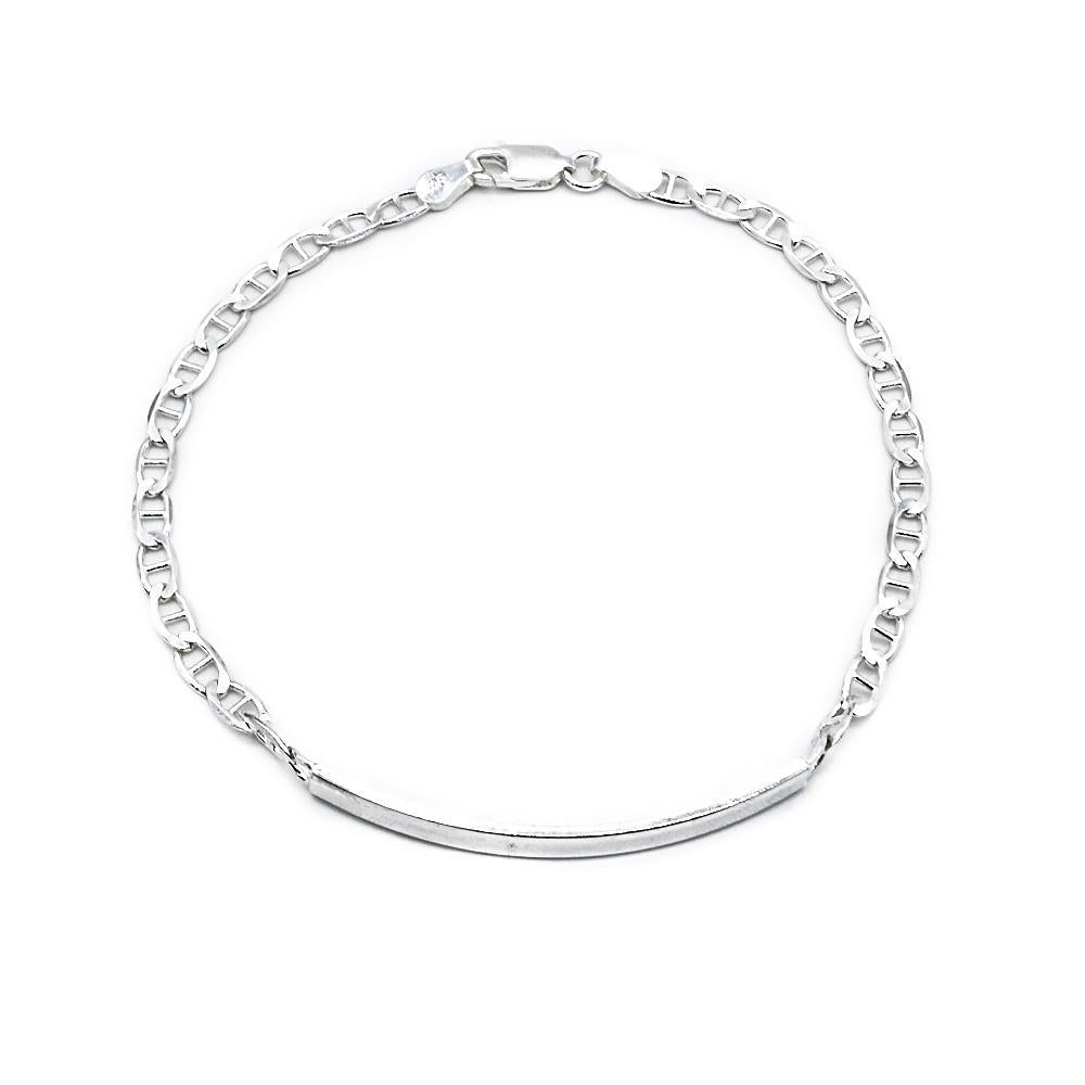 Carlen Silver ID Bar Bracelet with Gucci Chain