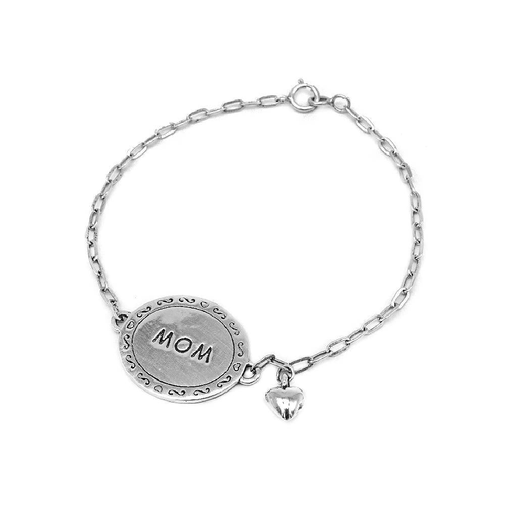 Creola Engraved Silver Mom and Puff Heart Charms Bracelet with Cheval Chain