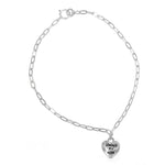 Camber Engraved Silver Always My Mom Heart Charm Bracelet on Anchor Chain