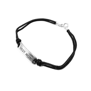 Canta Engraved Silver Best Mom ID Bar Leather Bracelet