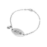 Carleigh Engraved Silver Mom and Puff heart Charm Bracelet with Chevel Chain