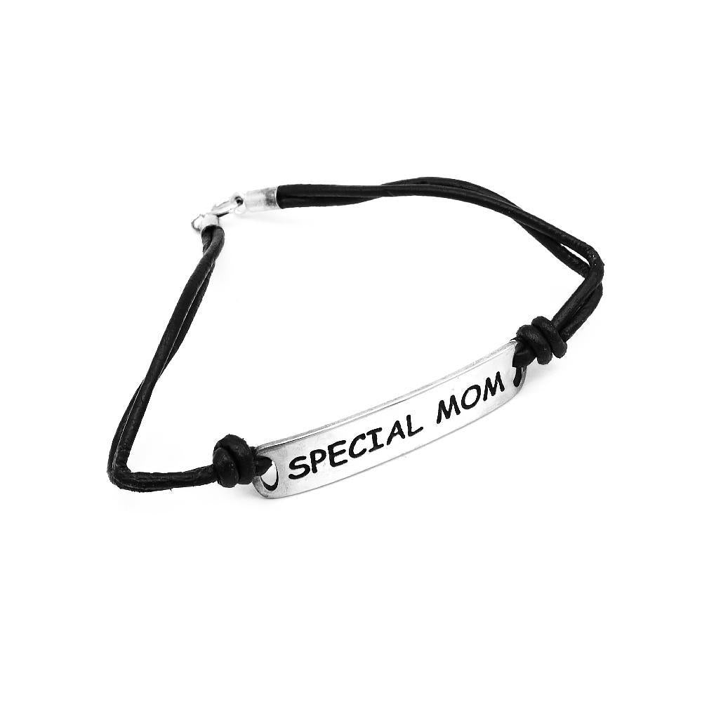 Cardea Engraved Silver Special Mom ID Bar Leather Bracelet