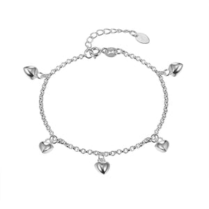 Load image into Gallery viewer, Carla Silver Dangling Heart Charm Bracelet