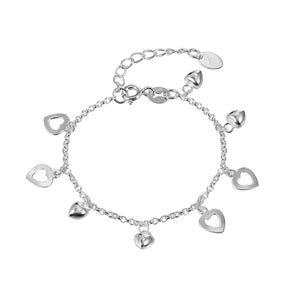 Load image into Gallery viewer, Cassandra Silver Puff and Open Heart Charm Bracelet