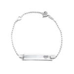 Callen Open Heart Baby ID Bar Silver Bracelet with Ball Chain