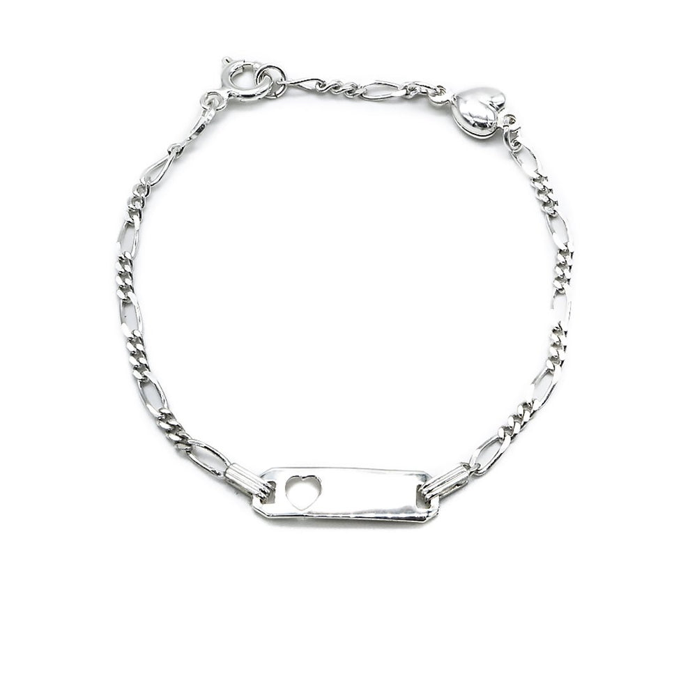 Calista Open Heart Baby ID Bar Silver Bracelet with Figaro Chain