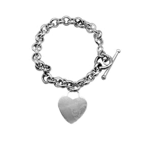 Cassia Silver Heart Charm Bracelet with Rolo Chain