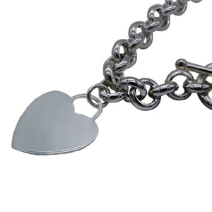 Cassia Silver Heart Charm Bracelet with Rolo Chain 2