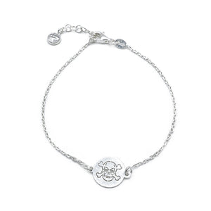 Callison Skull on Round Charm Silver Bracelet with Rolo Chain