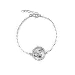 Chastity Love Birds on Open Round Charm Silver Bracelet with Zirconia Stones