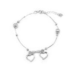 Clayne Open Heart Charms Silver Bracelet with Box Chain