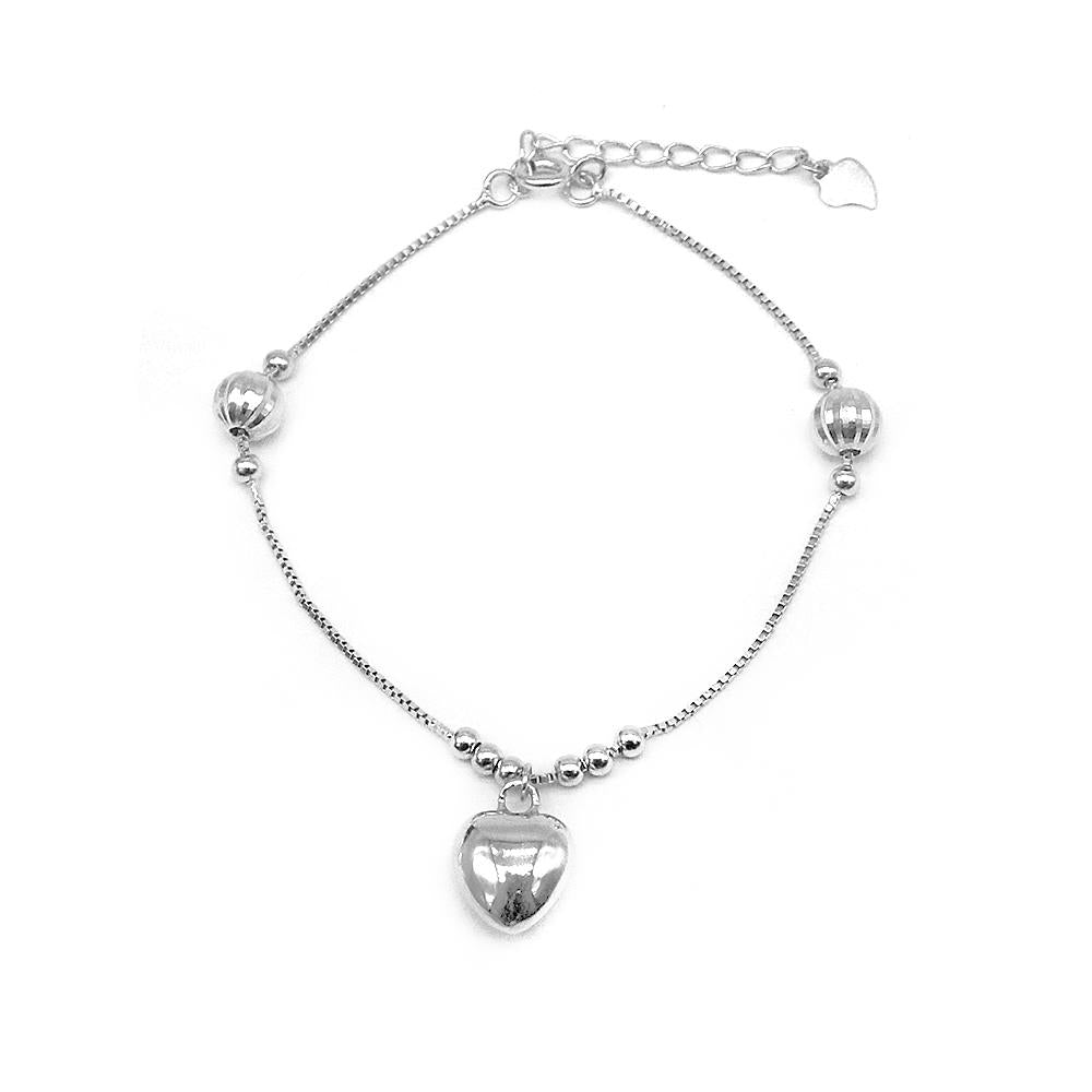 Load image into Gallery viewer, Contessa Puff Heart Charm Silver Bracelet