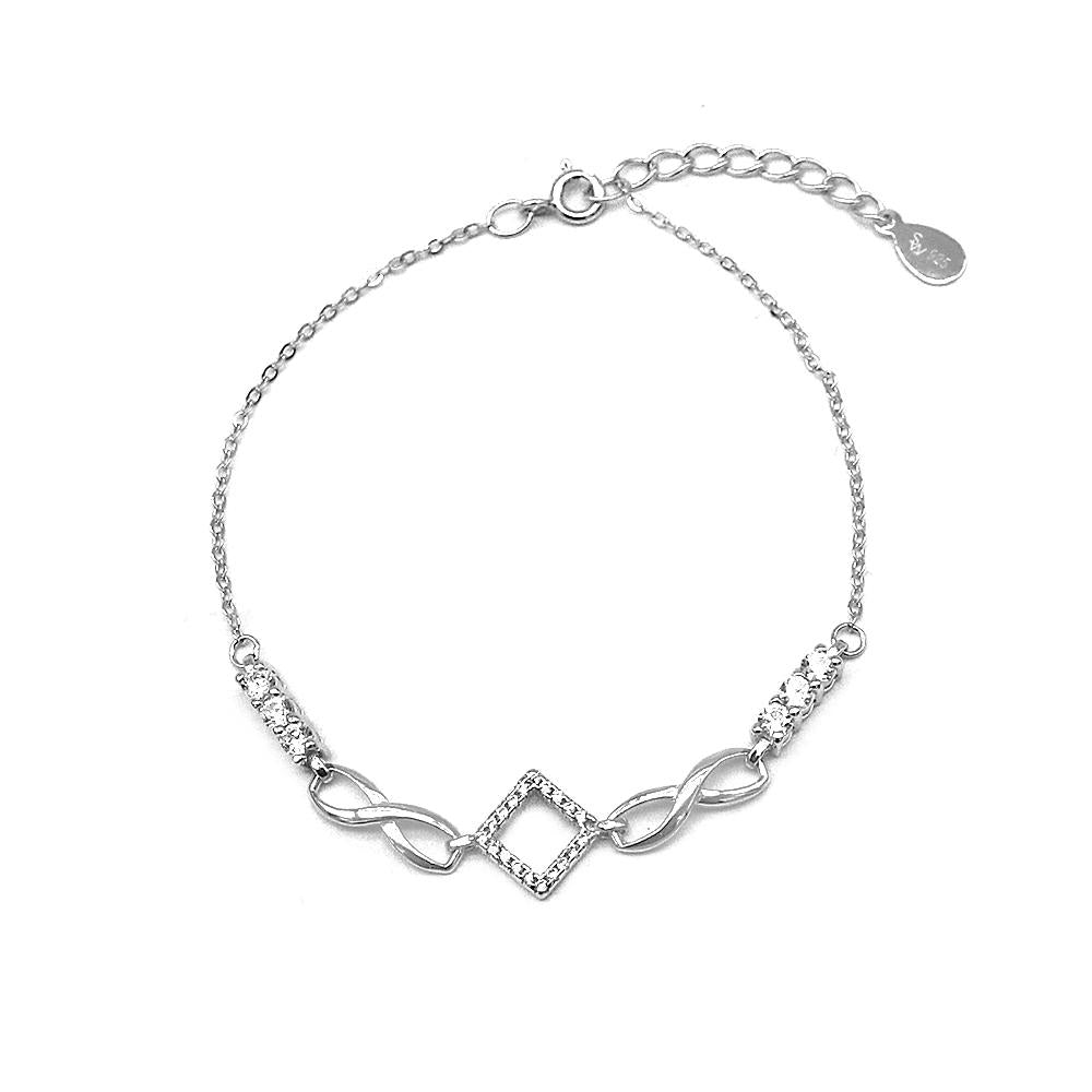 Coraline Infinity And Diamond Charms Silver Bracelet With Rolo Chain A Silverworks Ph