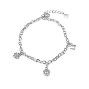 Load image into Gallery viewer, Corazon Clover Silver Bracelet with Zirconia Stones