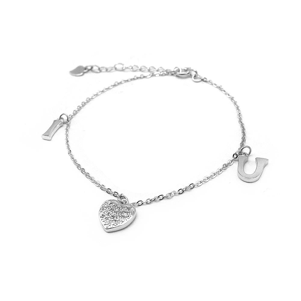 Connie I Heart U Charms Silver Bracelet with Rolo Chain and Zirconia Stones