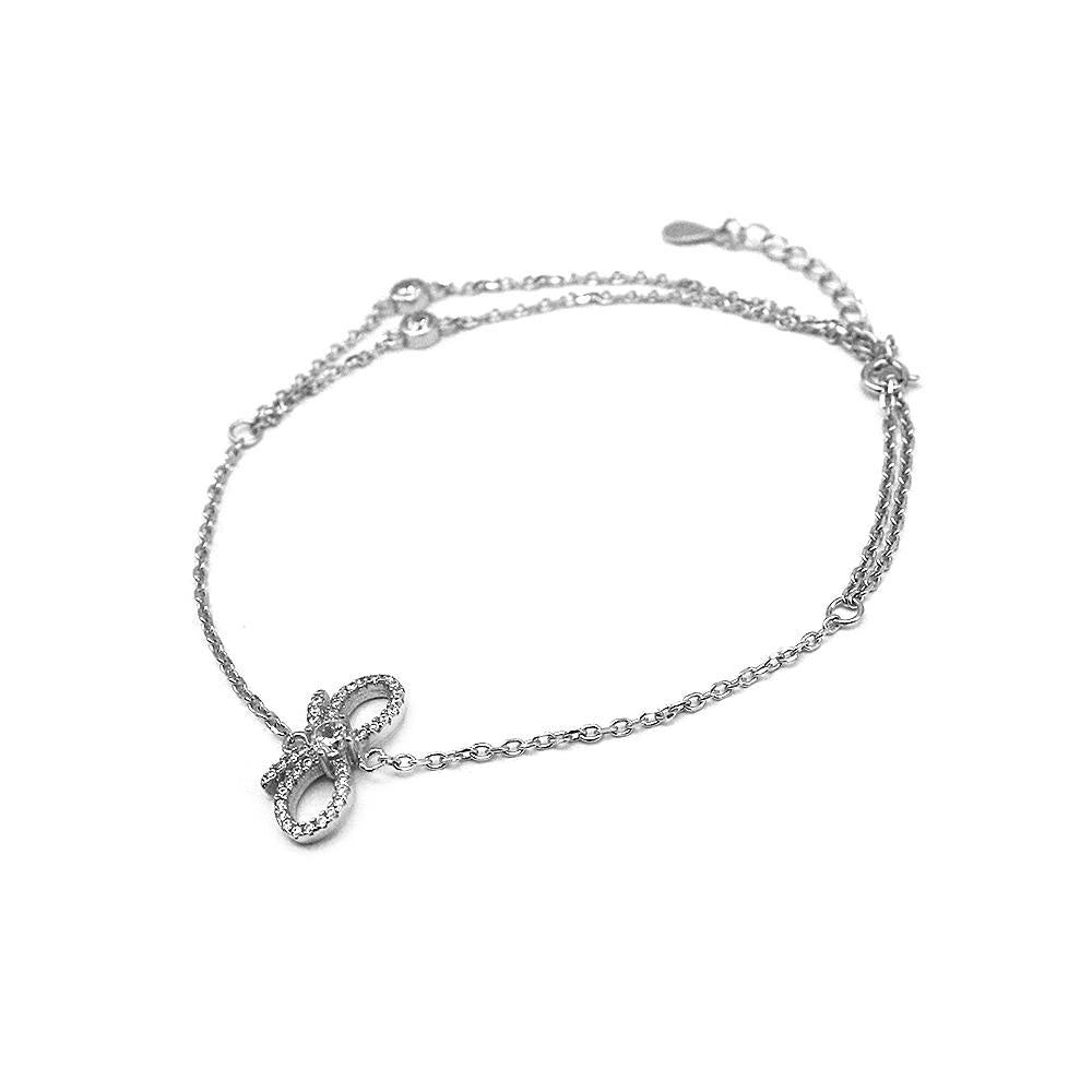 Cristy Ribbon Charm Silver Finger Ring Bracelet with Rolo Chain and Zirconia Stones