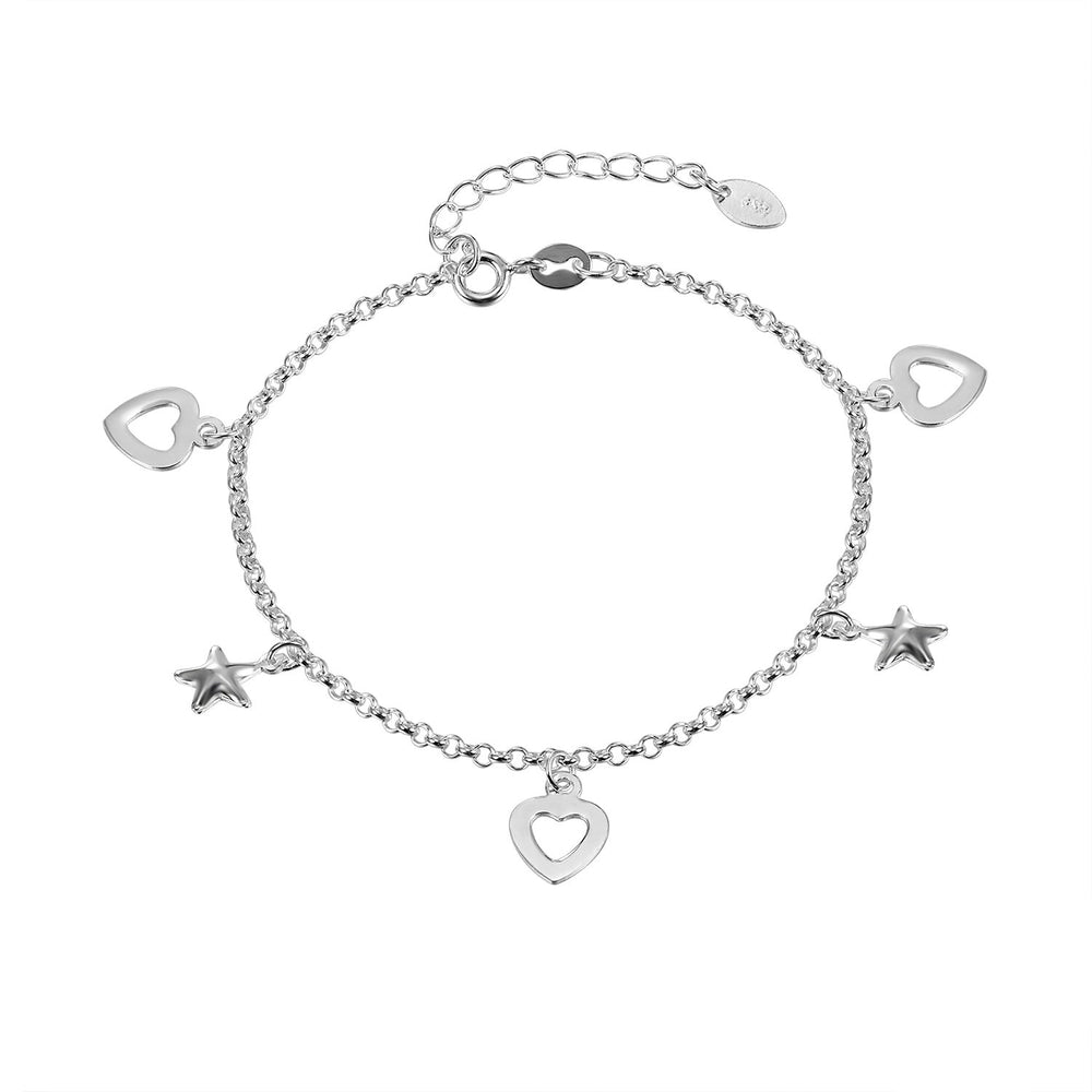 Claire Silver Puff Star and Open Heart Charm Bracelet