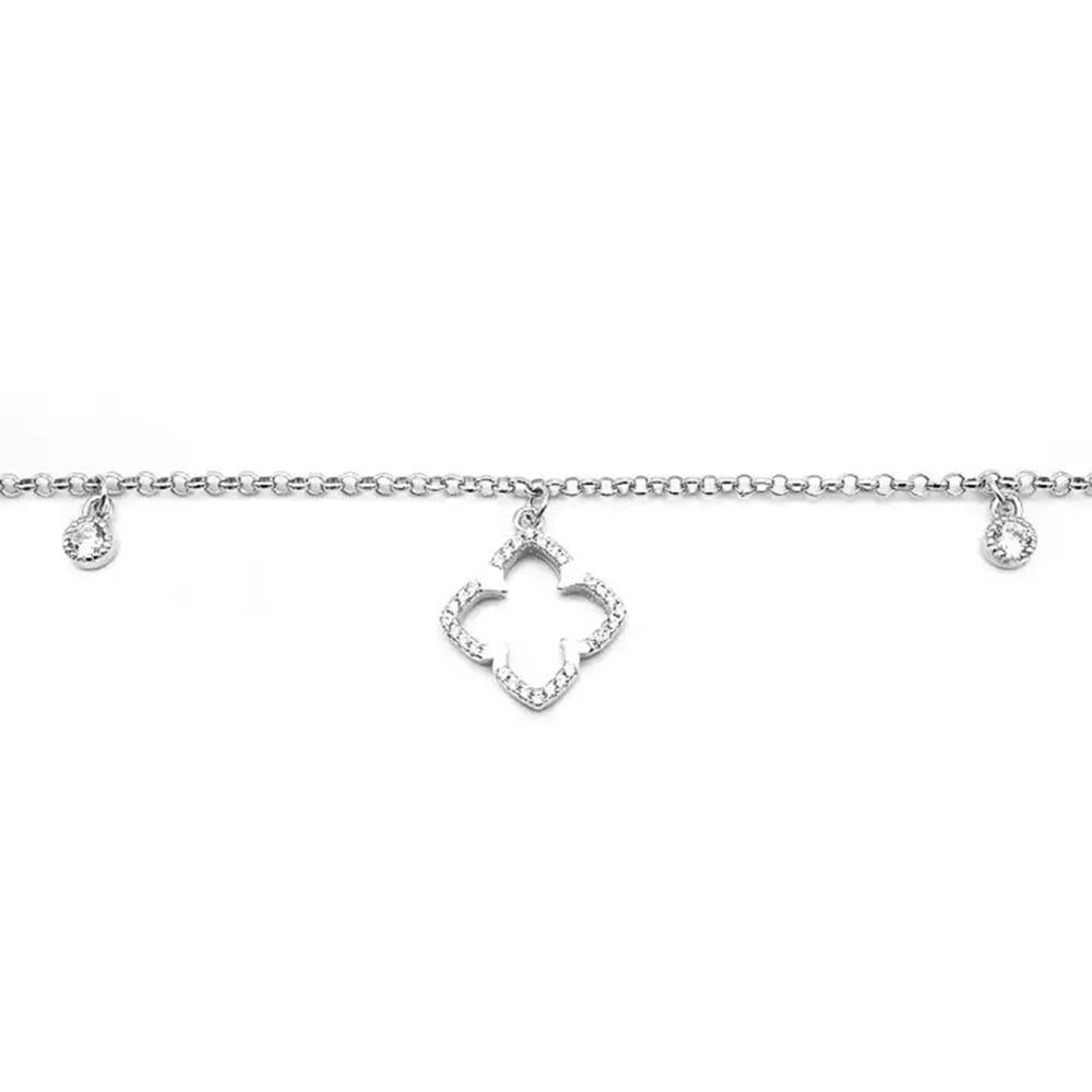 Camille Flower Charm Silver Bracelet with Zirconia Stones