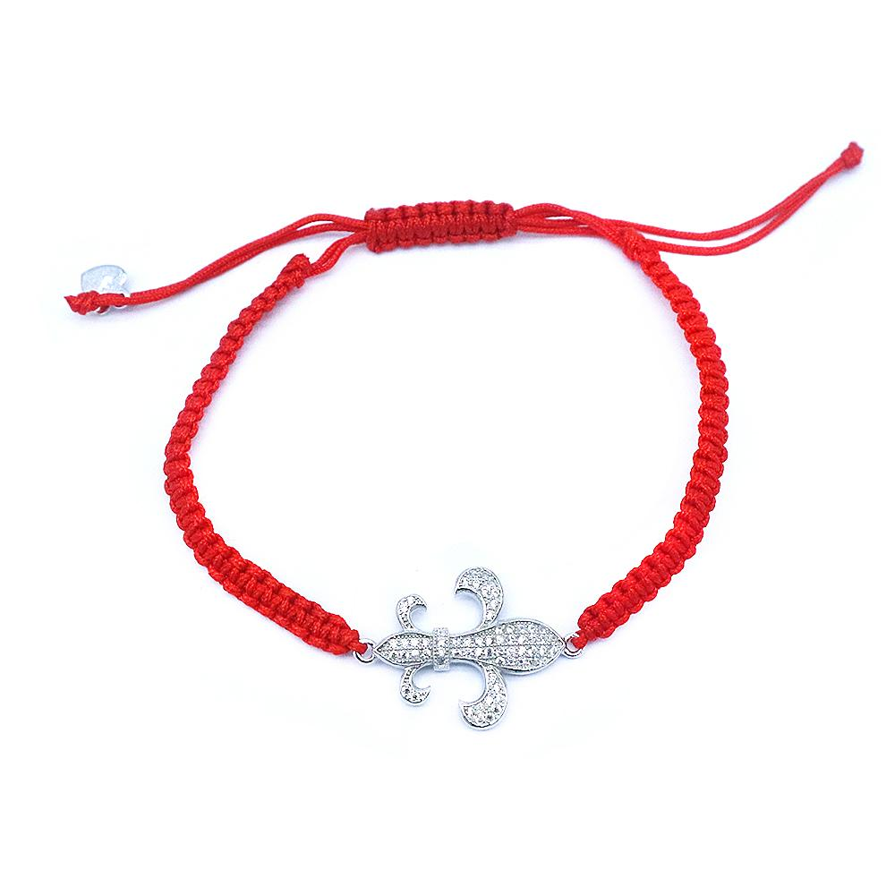 Cruzita Fleur De Lis Silver Charm with Red Braided Bracelet and Zirconia Stones